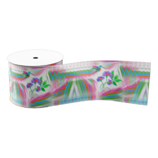 Hummingbird Flight Kaleidoscope Ribbon Grosgrain Ribbon