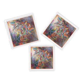 Hummingbird Flight Soft Pastels Art Acrylic Tray