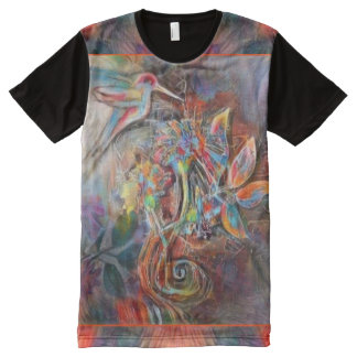 Hummingbird Flight Soft Pastels Art All-Over-Print T-Shirt