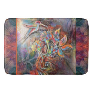 Hummingbird Flight Soft Pastels Art Bath Mat
