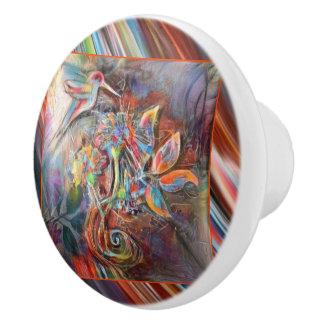 Hummingbird Flight Soft Pastels Art Ceramic Knob