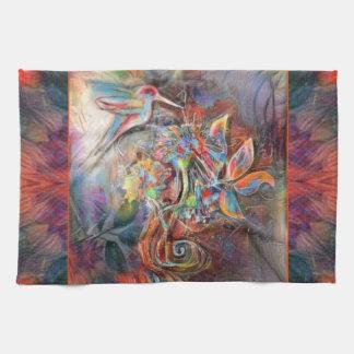 Hummingbird Flight Soft Pastels Art Kitchen Towel