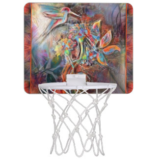 Hummingbird Flight Soft Pastels Art Mini Basketball Hoop