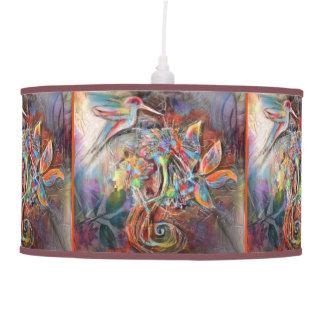Hummingbird Flight Soft Pastels Art Pendant Lamp