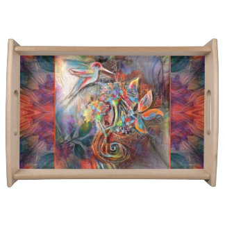Hummingbird Flight Soft Pastels Art Serving Tray