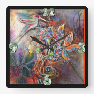 Hummingbird Flight Soft Pastels Art Square Wall Clock