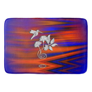 Hummingbird Flight Sunset Blush Bath Mat