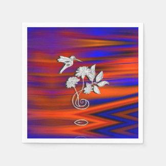 Hummingbird Flight Sunset Blush Paper Napkins