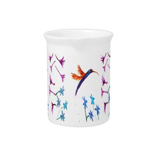 Hummingbird Floral Art Beverage Pitchers
