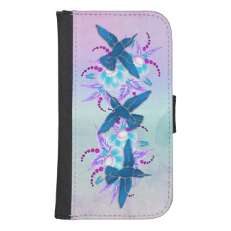Hummingbird Floral Art Deco Samsung S4 Wallet Case
