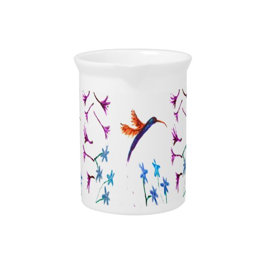 Hummingbird Floral Art Pitcher