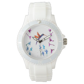 Hummingbird floral Art Wristwatches