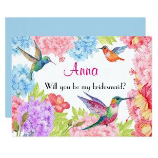 Hummingbird Floral Be My Bridesmaid? Card