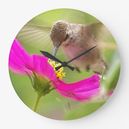 Hummingbird Floral Flower Bird Animal Wall Clock
