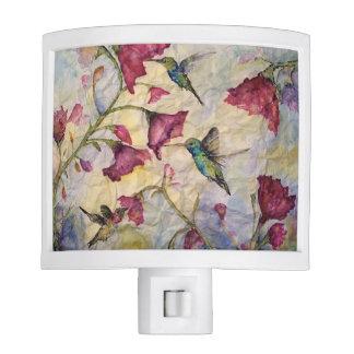 Hummingbird Floral Watercolor Design Nightlight Nite Lite