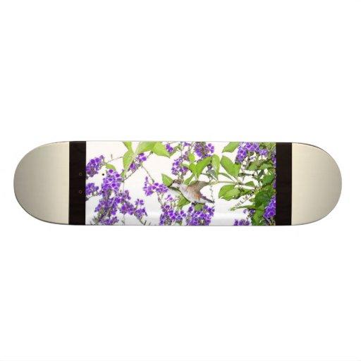 Hummingbird & Flower Vine Skateboard