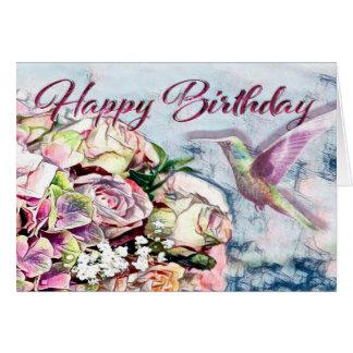 Hummingbird Flowers and Happy Birthday Card