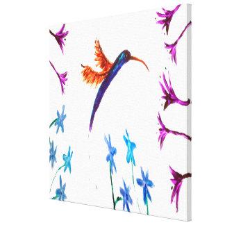 Hummingbird flowers Art Canvas Print