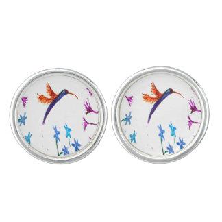 Hummingbird flowers Art Cuff Links