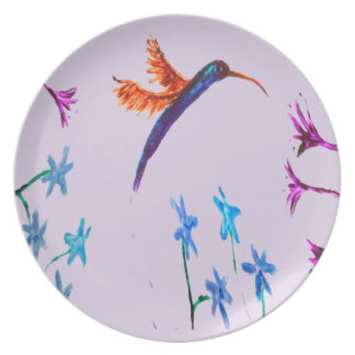 Hummingbird flowers Art Plate
