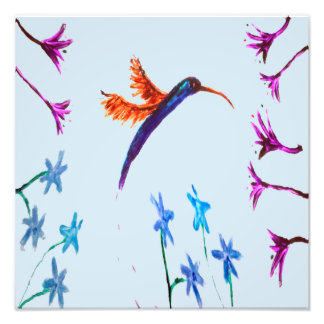Hummingbird Flowers Floral Bird Art Photo Print