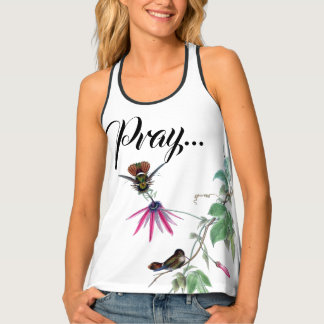 Hummingbird Flowers Pray Let God Worry! Tank Top