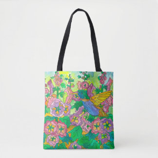 Hummingbird Flowers Tote Bag