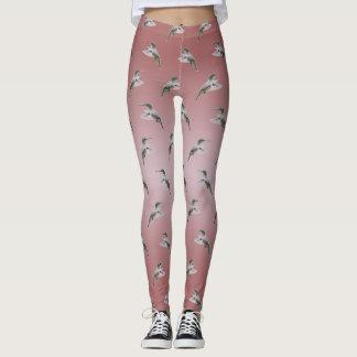 Hummingbird Frenzy Leggings (Dusty Pink Mix)