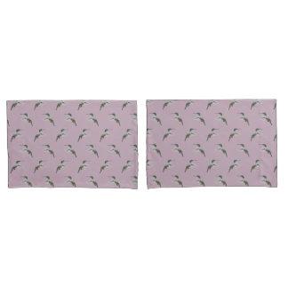 Hummingbird Frenzy Pillowcases (Pink/Burgundy)