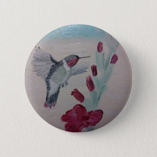 Hummingbird from Oil Painting 'Sweetness' 2 Inch Round Button