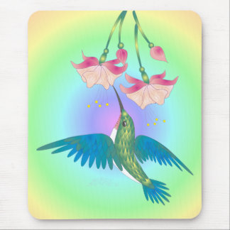 HUMMINGBIRD & FUCHSIA by SHARON SHARPE Mouse Pad