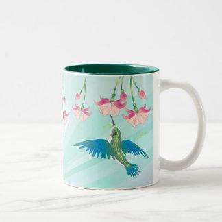 HUMMINGBIRD & FUCHSIA by SHARON SHARPE Two-Tone Coffee Mug