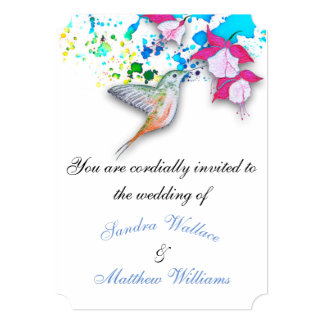 Hummingbird & Fuchsia Elegant Wedding Invitations