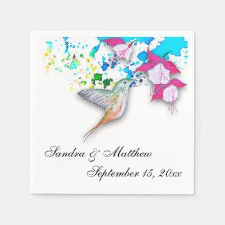 Hummingbird & Fuchsia Personalized Paper Napkins