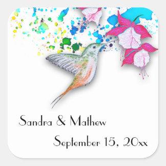 Hummingbird & Fuchsia Personalized Wedding Sticker