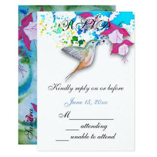Hummingbird & Fuchsia Wedding RSVP Cards