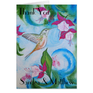 Hummingbird & Fuchsia Wedding Thank You Card