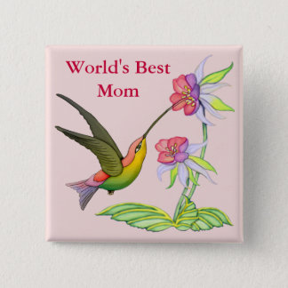 Hummingbird Garden for Mom 2 Inch Square Button