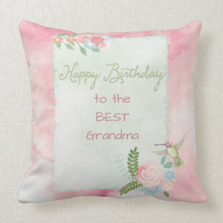 Hummingbird Garden Happy Birthday Announcement Throw Pillow