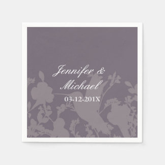 Hummingbird Garden Plum Elegant Wedding Disposable Napkin