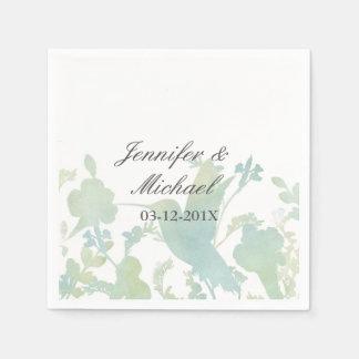 Hummingbird Garden Watercolor Elegant Wedding Paper Napkins