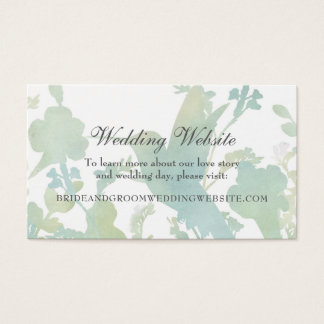 Hummingbird Garden Watercolor Wedding Website Business Card
