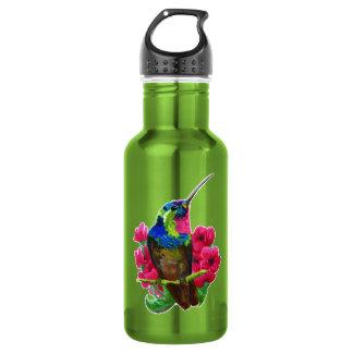 Hummingbird hand drawing bright illustration. Neon 532 Ml Water Bottle