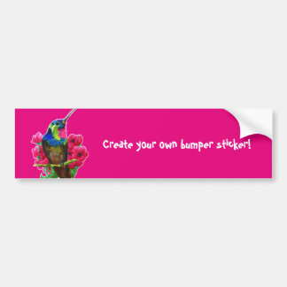 Hummingbird hand drawing bright illustration. Neon Bumper Sticker