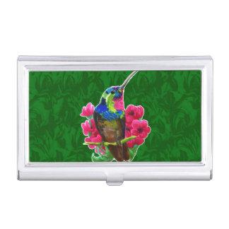 Hummingbird hand drawing bright illustration. Neon Business Card Holders