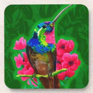 Hummingbird hand drawing bright illustration. Neon Coaster