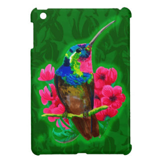 Hummingbird hand drawing bright illustration. Neon Cover For The iPad Mini