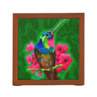 Hummingbird hand drawing bright illustration. Neon Desk Organizer