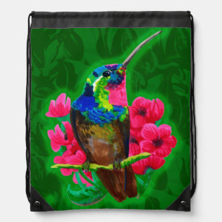 Hummingbird hand drawing bright illustration. Neon Drawstring Bag