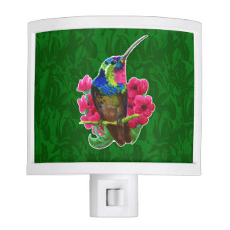 Hummingbird hand drawing bright illustration. Neon Nite Lights